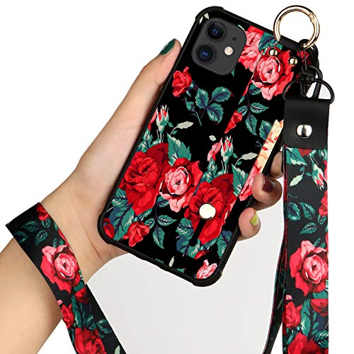 iPhone 11 6.1 Inch Case Street Fashion Flower Floral Shell Wrist Strap Lanyard with Kickstand Cover for Apple iPhone 11 2019 (Red Flower)