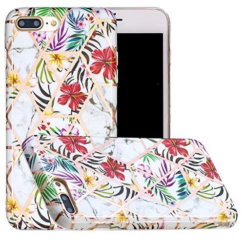 Miagon Marmor Hülle für iPhone 7 Plus/8 Plus,Dünn Weich Silikon Flexible Handyhülle Schutzhülle Galvanisiert Marble Bumper Handytasche Zurück Cover Gummi,Blatt Blume