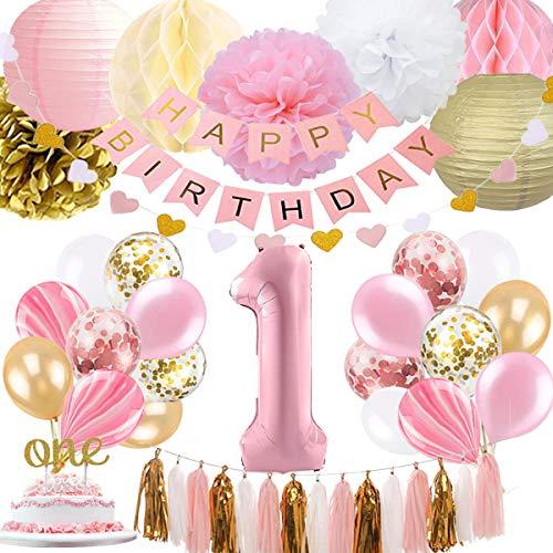 SZHUIHER 1. Geburtstag Mädchen Dekoration, Baby Mädchen erste Geburtstagsdekoration Geburtstag Ballon für Pink und Gold Party Supplies Dekoration 1. Geburtstag