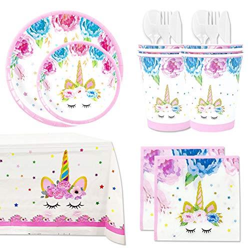 Vajilla Desechable Unicornio para Fiesta de Cumpleaños Niña - Platos, Vasos, Tenedores, Cucharas, Cuchillos, Mantel, Servilletas- Accesorios para Decoración Color Rosa - 16 Invitados(Sencillo)