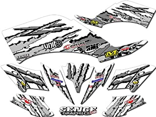 Senge Graphics kit compatible with Kawasaki 2004-2009 KFX 700, Shredder White Graphics Kit