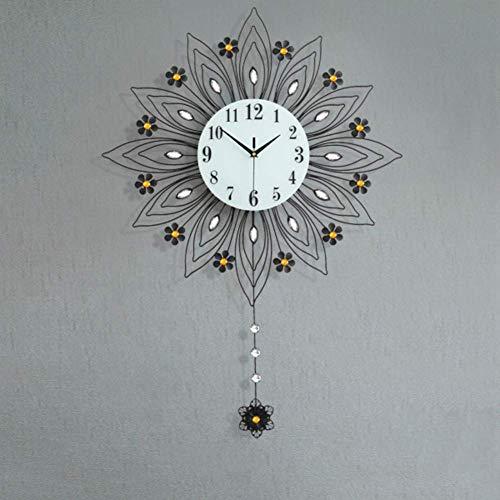 Relaxbx Home Decor European Style Peacock Wall Clock, Crystal Living Room Clock, Creative Mute Wall Watch Quartz Clock-a 90x64cm(35x25inch)