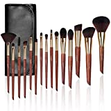 Make up Brushes, LEUNG 15pcs Makeup Brush Set, Premium Synthetic Foundation Blending Makeup Brushes, Concealer Brush Eye Shadow Brush with Leather Travel Makeup Bag