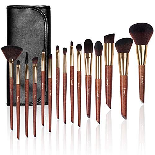 Pennelli Make Up, LEUNG 15 Pezzi Set Di Pennelli Per Ombretti Sintetici Premium, Set di pennelli professionali per trucco trucchi,pennelli trucco con borsa