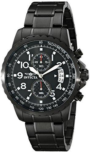 Invicta Men's Specialty 45mm Black Stainless Steel Chronograph Quartz Watch, Black (Model: 13787)
