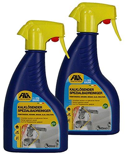 Fila 2X 500 ml VIA BAGNO Kalklösender Spezialbadreiniger für Feinsteinzeug, Keramik, Mosaik, Glas, Edelstahl - Sprühflasche