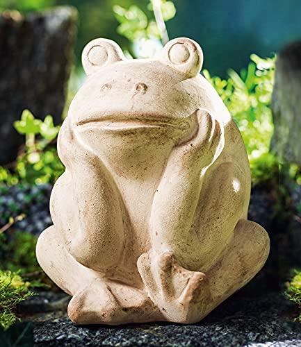 """Deko-Frosch """"Rudi"""" aus Terracotta, schwere Qualität, Garten-Tierfigur, Gartenfigur, Skulptur"""