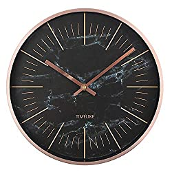 Timelike Modern Wall Clock, Silent Non Ticking Quartz Decorative Battery Operated Wall Clock for Office School Classroom Home