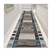 ZEMIN 廊下敷きカーペット、滑り止めラバーバッキングホームエントランスラグ、廊下キッチン階段用マイクロファイバーウォッシャブルフロアマット、劈開可能 (Color : A, Size : 1.1mx1m)