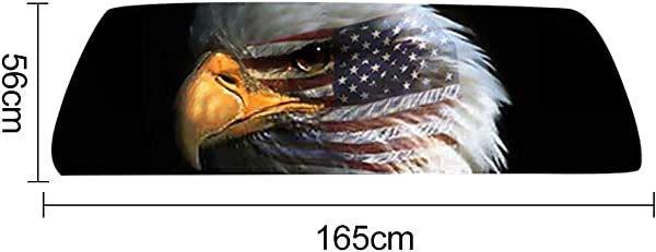 Ywbtuechars Car Stickers And Decals American Flag Eagle Print Rear Window Graphic Decal Sticker Car Truck SUV Van PVC 16556cm