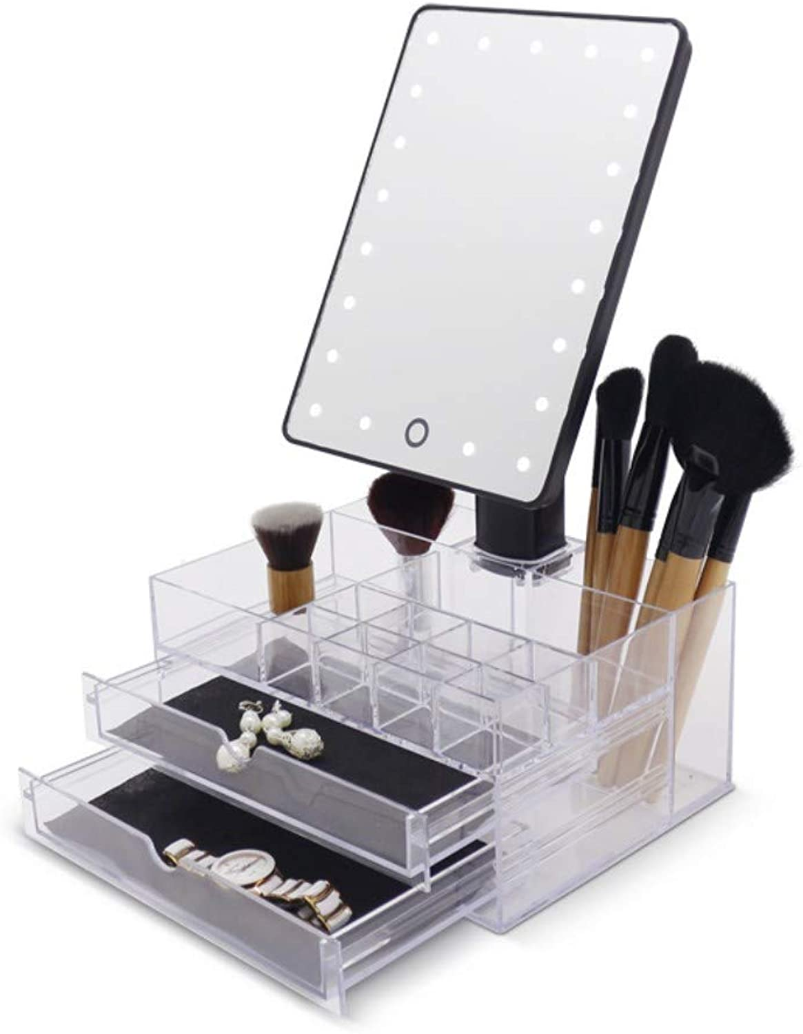 LED makeup mirror desktop touch multi-function storage combination makeup mirror dressing table finishing artifact