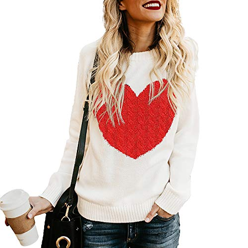 Exlura Women's Casual Sweater Heart Pattern Patchwork Pullover Long Sleeve Crew Neck Knits Loose Top Off White