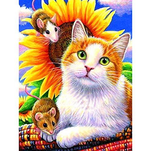 Greatminer Diamant-Malerei-Set für Erwachsene, Kinder, Heimdekoration, Zimmer, Büro, Geschenke für sie, ihn, ruhige Katze, 30 x 39,9 cm