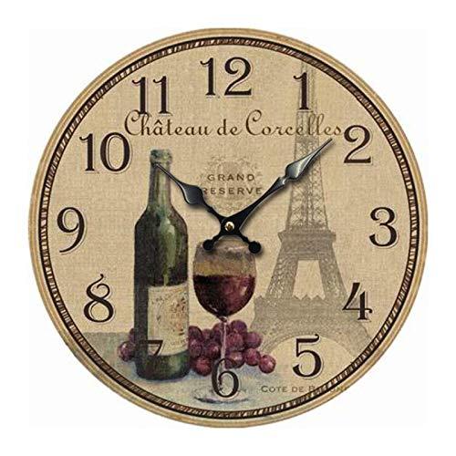 Reloj De Pared De Madera Retro Torre De Vino Tinto Eiffel Relojes De Pared para Sala Reloj Digital De Pared