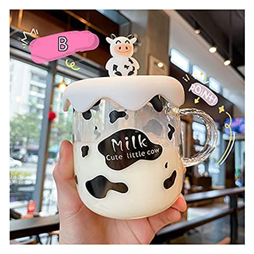 QIANSDZSW Taza de Agua Nueva Taza de Vidrio de Vaca de Leche de Kawaii con Tapa de Tapa Linda Taza de café Transparente con Mango Pareja de Estudiantes Desayuno Leche Tazas de Agua