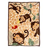 Danica Super Cozy Plush Baby Blanket, Cute Animal Pattern, 43' X 30' Cozy, Comfortable & Warm (Playing Monkey)