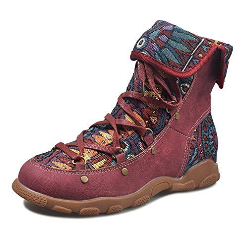 Yying Frauen Schneeschuhe wasserdichte Kurze Stiefeletten Schuhe Faux Wildleder Pelz Gefüttert Winter Warme Stiefel Schnüren Outdoor Flache Ferse Bequeme Stiefel