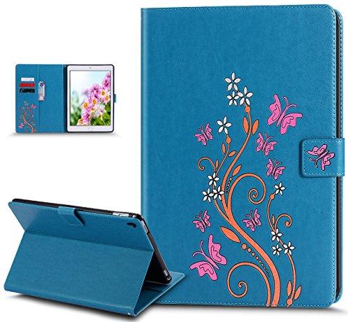 Coque iPad Pro 9.7,Etui iPad Pro 9.7,Coque iPad Pro 9.7 Etui,Papillon fleur Couleur peinte Etui Housse Cuir PU Portefeuille Folio Flip Wallet Coque Étui Poches Case Coque Housse pour iPad Pro 9.7,Bleu