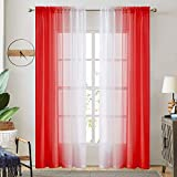 Ombre Faux Linen Sheer Curtains for Bedroom Living Room Rod Pocket, Privacy and Light Filtering, 2 Tone Reversible Gradient Voile Semi Window Curtains, Set of 2 Panels, Red, 54 x 84 Inch Length