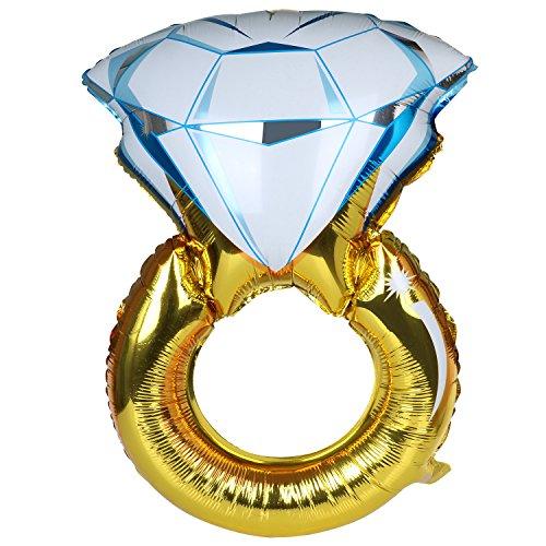 TRIXES großer Luftballon in Form eines Verlobungsrings Ballon Gold blau Party Feier Liebe Valentinstag Hochzeit Spaß