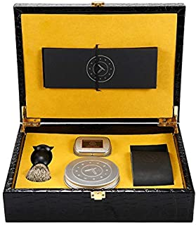 Gold Straight Razor - Stainless Steel Straight Razor, Gift Box with Everything You Need + Leather Strop, Sleeve, Soap, Badger Friendly Brush Set, Balanced Wood Handle, Dad Gift Box (Gold)
