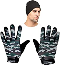 SPENCA Camo Unisex Dotted Gloves_Green_with Helmet Bandana_Black_Free Size