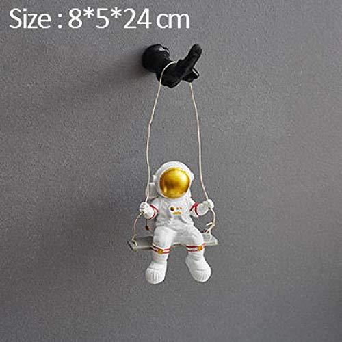 YAOHEHUA Esculturas Resina Columpio Astronauta Modelo en Miniatura decoración de Escritorio Adornos Colgantes de Pared Figuras de Arte Muebles de decoración del hogar Estatuas Adornos Esculturas