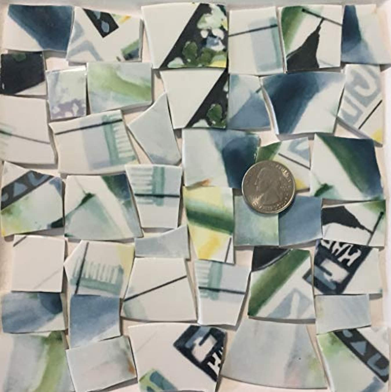 Mosaic Art & Crafts Supply ~ Blue & Green Graphic Fine China Tiles (B699)