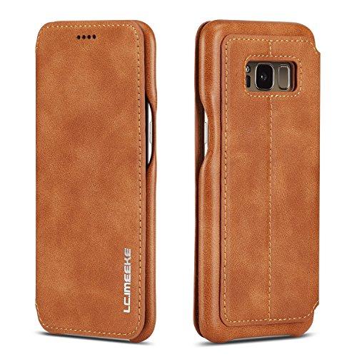 QLTYPRI Hülle für Samsung Galaxy S8, Ultra Dünne Ledertasche Handyhülle mit Kartenfach und Standfunktion Magnetverschluss Flip Schutzhülle Kompatibel mit Samsung Galaxy S8 - Braun