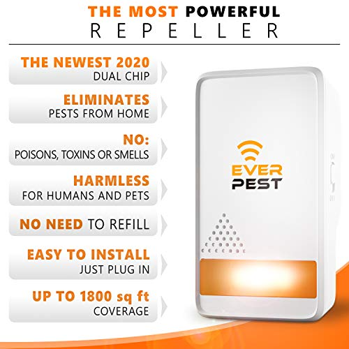 Pest Control Ultrаsonic Repellent - Easy Humane Way to Repel Rodents, Ants, Cockroaches, Bed Bugs, Mosquitos, Flies, Sp   iders Bats - Eco-Friendly Safe for Humans Pets (2)