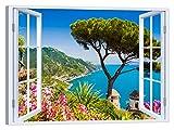 LuxHomeDecor Cuadro de ventana sobre Ravello Costa Amalfi 100 x 75 cm Impresión sobre lienzo con marco de madera Decoración Arte Decoración Moderno