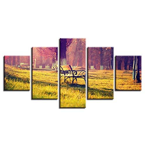 Jgophu Moderne Bilder Dekor Rahmen HD Drucke 5 Stücke Liegestuhl Und Bäume Sonnenschein Landschaft Wandkunst Modulare Malerei Leinwand Poster 40x60x2 40x80x2 40x100 cm