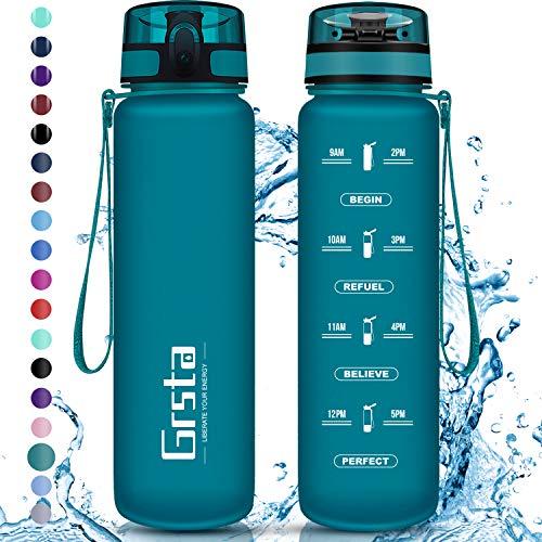 Grsta Trinkflasche, Sport Trinkflasche 1L BPA-frei Sportflasche Kunststoff mit Filter Tritan Wasserflasche kohlensäure für Kinder, Fahrrad, Gym, Yoga, Outdoor, Camping