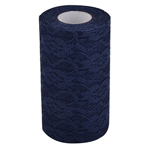 uxcell a17030400ux1213 Lace Wedding Party Banquet Hall DIY Decor Tulle Spool Roll 6 Inch x 25 Yards Navy Blue