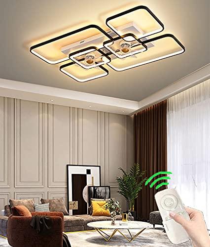 Ventilador de Techo Moderna Quiet con Luz LáMpara de Ventilador LED para Sala de Estar Luz del Ventilador de Control Remoto Regulable para Dormitorio Infantil 3 Velocidades