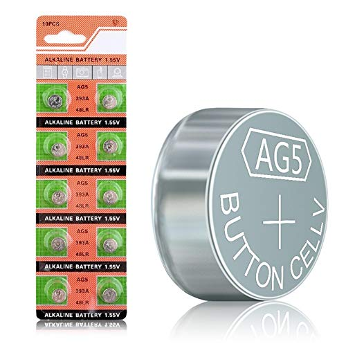 Cotchear AG5 Button Cell Battery 393A LR754 SR48 AG5 Alkailine Coin Batteries [10Pcs/Pack]
