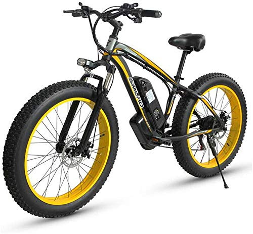 Electric Bike Electric Mountain Bike, Electric Mountain Bike for Adults, 500W 26'' Fat Tires Electric Bicycle with Removable 48V 15AH Lithium-Ion Battery, 27-Speed Gear Shifter - All Terrain Ebike for