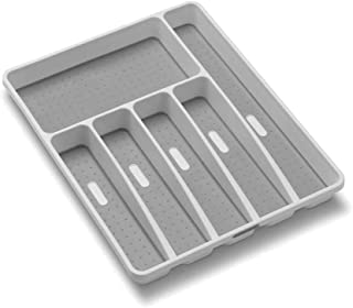LJHSZ 1Pcs Drawer Organizer,Classic Large Silverware Tray, 6-Compartments Drawer Organizer,Soft-Grip Lining and Non-Slip R...