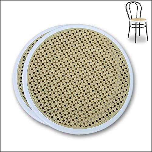 2 Asientos Redondos Blanco de Plástico de Repuesto para Sillas de Cocina Thonet. Silla de Cocina Bistró de Metal. Paja de Viena. Instalación a Presión + Manual de Mantenimiento. Diámetro 40cm