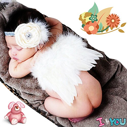 CiaraQ Newborn Baby Photography Props Feather Angel Wings and Rhinestone Headband Set Baby Hair Accessories Photo Prop.