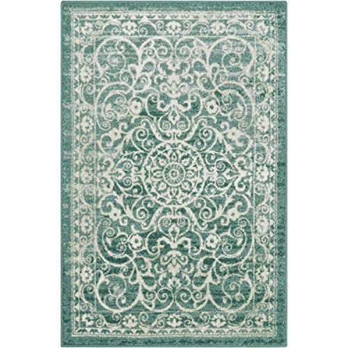 Maples Rugs Pelham Vintage Area Rugs for Living Room & Bedroom [Made in USA], 5 x 7, Light Spa