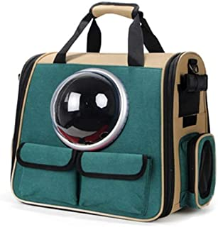 Double Shoulder Pet Cage Portable Pet Travel Bag Good Breathability Comfortable Green Makfacp (Color : Silver)