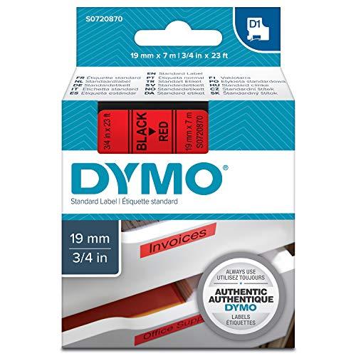 Dymo S0720870 D1-Etiketten (Selbstklebend, für den Drucker LabelManager, 19 mm x 7 m Rolle) schwarz auf rot