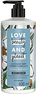Love Beauty & Planet Natural Coconut Water & Mimosa Flower Hydrating Body Lotion, 24hr Moisturization, Non-Sticky, Paraben...