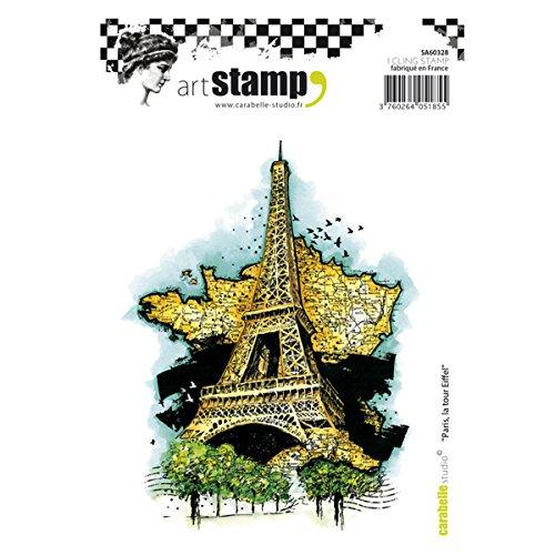 Carabelle Studio Cling Art, Parijs, De Eiffeltoren, voor papier ambachtelijke stempelen projecten, Cardmaking en Scrapbooks, Wit, A6