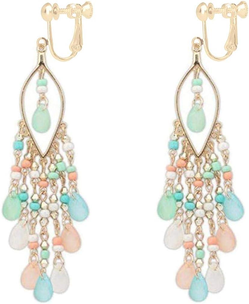 Bead Fringe Earrings for Women Boho Clip on Earrings for Non Pierced Bright Beaded Long Tassel Waterfall Drop
