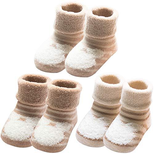 YUESEN Calcetines Bebé 3 Pares de Calcetines Bebé Algodón organico Grueso Calcetines Térmicos Suaves Cómodos Niños Niñas Calcetines de Invierno