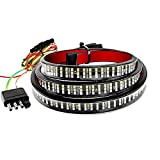 MustWin 60 Inch Tailgate Light Bar Triple Row 504 LEDs Tailgate Strip Light Red Running Brake Amber Turn Signal Strobe White Reverse Waterproof with 4-Pin Flat Connector for Pickup Trailer SUV RV Jeep
