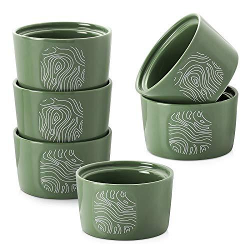 DOWAN Ceramic Ramekins 8 oz, Oven Safe Ramekin for Creme Brulee, Souffle Dish for Baking, Green Baking Souffle Ramekins, Set of 6