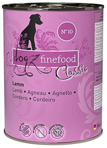 dogz finefood Hundefutter nass - N° 10 Lamm - Feinkost Nassfutter für Hunde & Welpen - getreidefrei & zuckerfrei - hoher Fleischanteil, 6 x 400 g Dose